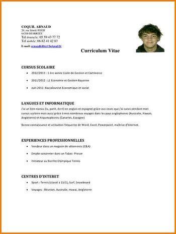 Exemple De Cv Pour Un Emploi by Exemple De Cv Emploi Saisonnier
