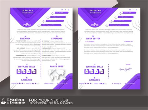 one page resume template cover letter for microsoft word clean resume professional cv