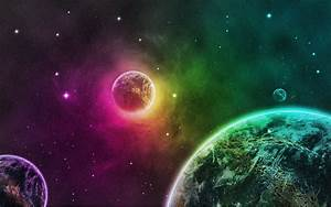 Green outer space planets purple Earth wallpaper ...