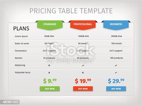 colorful comparison pricing table template stock vector