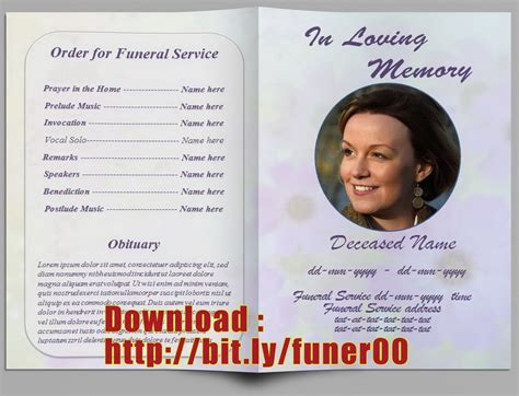 editable memorial service program template http