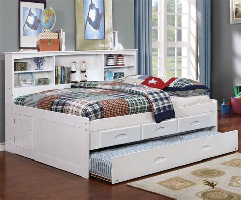 full bed with trundle white size bookcase captain s day bed with trundle 15294