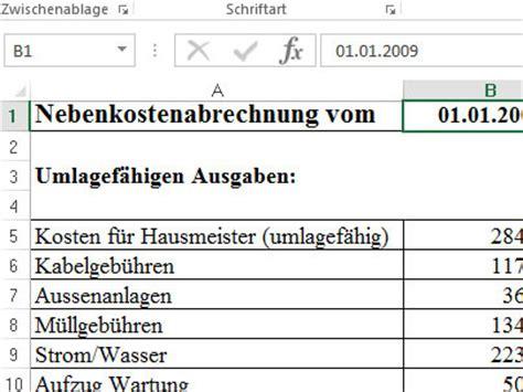 Stromkosten In Nebenkosten by Nebenkostenabrechnung Muster Vorlage F 252 R Excel
