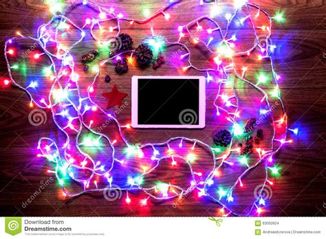 light online shop desk view from above with digital tablet and lights shopping stock photo