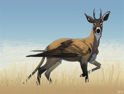 Deer With A Long Tail And Bird Wings