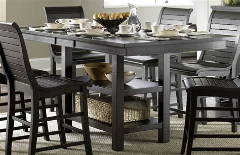black distressed dining table willow distressed black rectangular counter height dining