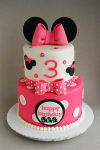 "Happy 3rd birthday Olivia! A 6""/8"" Minnie Mouse cake ..."