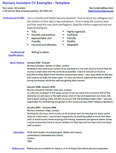 nursery assistant cv exle and template lettercv