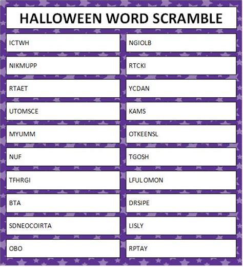 halloween word unscramble printables festival collections