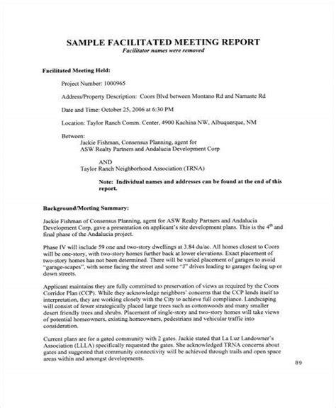 meeting report template   word  format