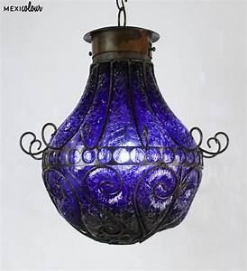 Hand blown crackled glass wrought iron mexican pendant