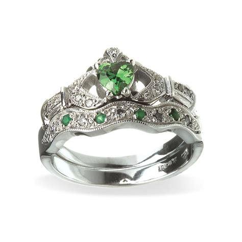 emerald  diamond engagement  wedding band