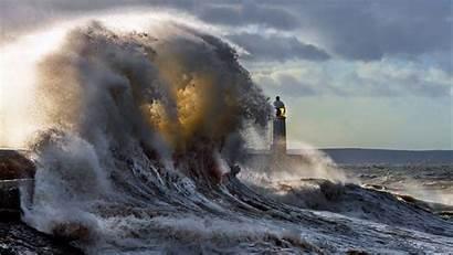 Lighthouse Waves 4k Spray Sky Uhd