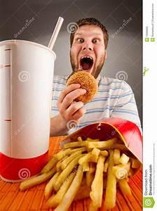 Expressive Man Eating Fast Food Stock Image - Image: 19390605
