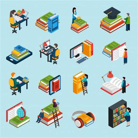library isometric icons set    images
