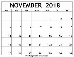 calendar template 2018 november
