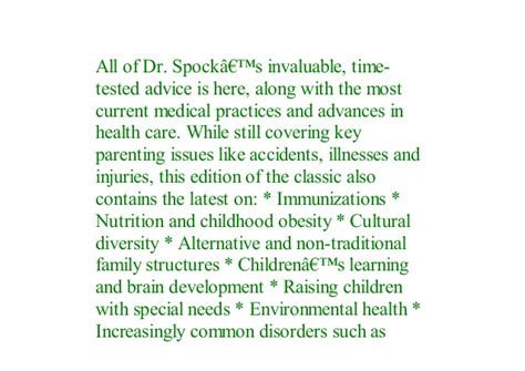 Pdf Dr Spocks Baby And Child Care 9th Edition By