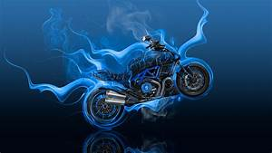 Moto Ducati Diavel Side Super Fire Flame Abstract Bike