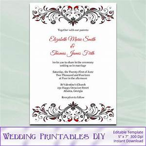 diy printable invitation templates red black and white With 6 x 6 wedding invitation template