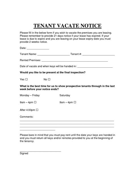printable sample vacate notice form attorney legal forms