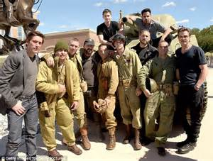 Brad Pitt and Shia LaBeouf entertain US troops at Fort ...