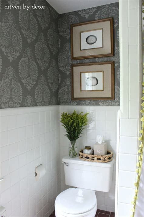 stenciled bathroom budget makeover reveal driven