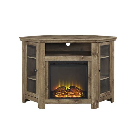 Walker Edison Tv Stand by 48 Quot Corner Fireplace Tv Stand Barnwood