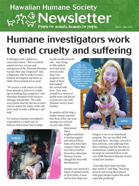 Hawaiian Humane Society March May 2019 Newsletter By