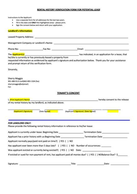 free rental history verification form top 6 rental history verification form templates free to