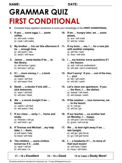 English Grammar First Conditional www.allthingsgrammar.com