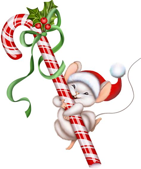 Candy Cane Christmas Mouse Clip Art