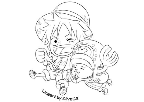 Chibi Luffy And Chopper (lineart) By Silvase On Deviantart