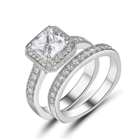 princess cut white sapphire 925 sterling silver engagement