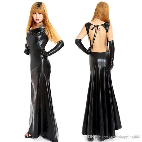 New Fashion Exotic Backless Dresses With Gloves Women Sex Clothing Faux Pvc Gown Dress