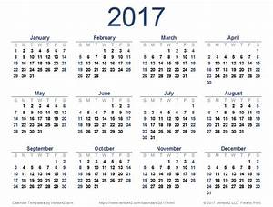 New printable 2017 Calendar PDF from Vertex42.com ...