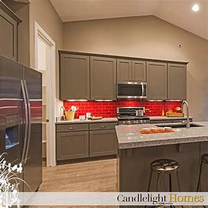 colorful red backsplash and grey cabinets kitchen design With grey and red kitchen designs