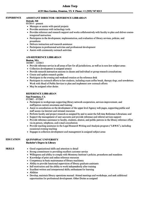 Librarian Resume Sle by Reference Librarian Resume Sles Velvet