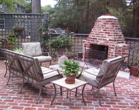 outdoor brick fireplace traditional patio other