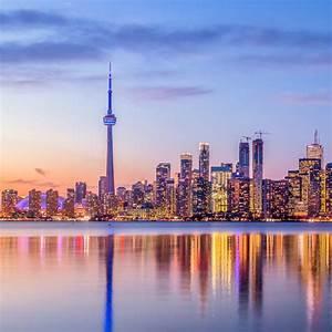 Toronto, Skyline, With, Purple, Light, -, Toronto, Ontario, Canada