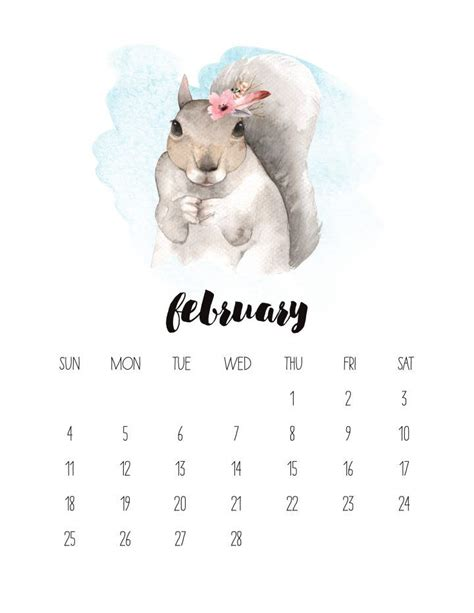 printable  watercolor animal calendar