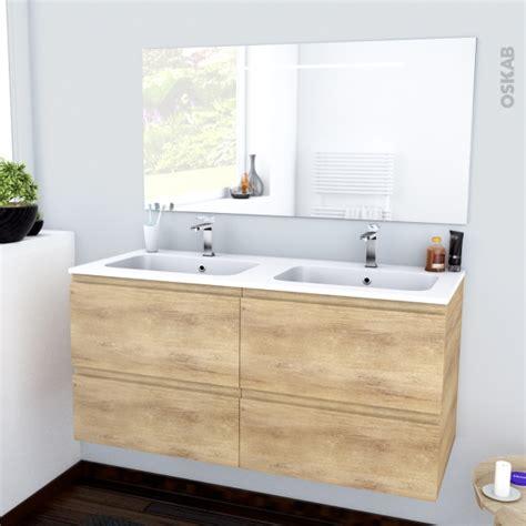 ensemble salle de bains meuble ipoma bois plan vasque r 233 sine miroir lumineux l120 5 x h58