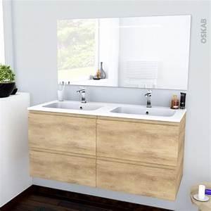 ensemble salle de bains meuble ipoma bois plan double With meuble miroir salle de bain lumineux