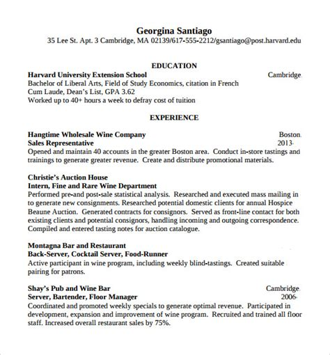 Bartender Resume Sles Templates by Bartender Resume Template 8 Free Documents In