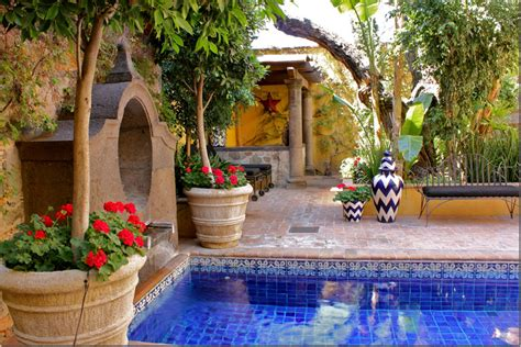 tiled courtyard pool  san miguel mexico  beautiful  relaxing    spanish