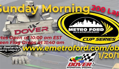 enascar metro ford racing cup race  dover intl speedway