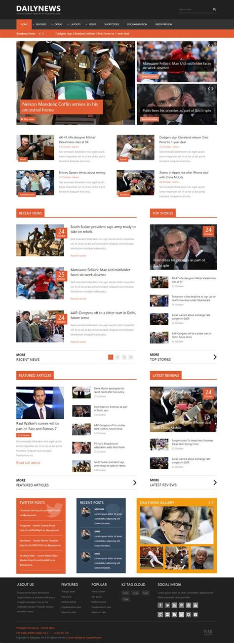 news site template free dailynews news joomla template