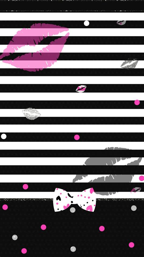Girly Lock Screen Black Wallpaper by Striped Girly Wallpaper Stripes And Polka Dots