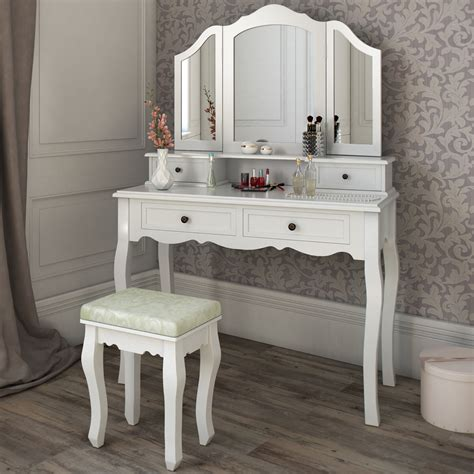 Makeup Vanity by Dressing Table Stool Makeup Table Storage Mirror Bedroom
