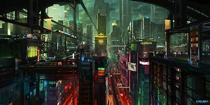 Cyberpunk Night Wallpapers Skyscraper Lights Cityscape Street