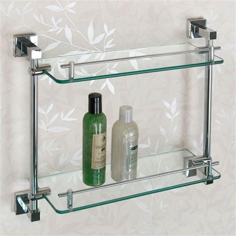 Bathroom Storage Glass Shelves Albury Tempered Glass Shelf Two Shelves Bathroom
